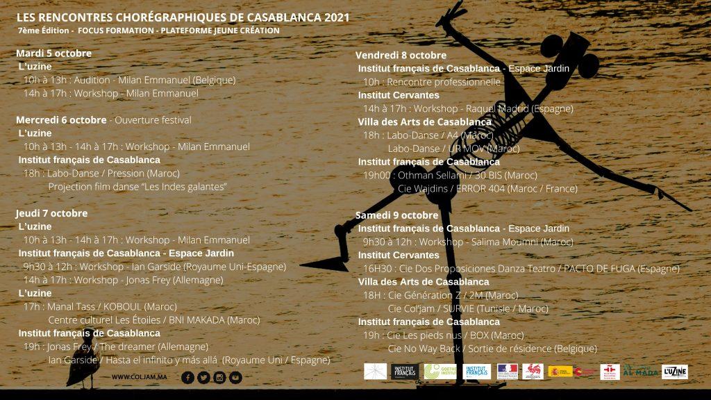 Programme Les Rencontres Chorégraphiques de Casablanca 2021